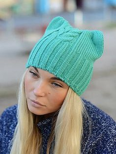 Knit Beanie Hat, Slouchy Hat, Knit Crochet, Crochet Hats, Cashmere Hat, Knitting Projects, Knitted Hats, Womens Fashion, Kitty