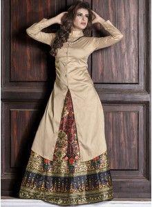 Incredible Tafeta silk Beige Designer Ku..