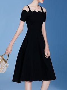 Black A-line Solid Spaghetti Short Sleeve Midi Dress