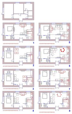 2 Bedroom Floor Plans, Small House Floor Plans, Apartment Layout, Apartment Plans, Annex Ideas, Hotel Room Design, Small Space Interior Design, Bungalow House Design, Room Planning