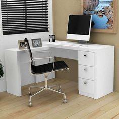 Escrivaninha em L com Gavetas Tecno Mobili - Branco L Desk, Study Desk, Office Desk, Home Office Branco, Magazine Table, Kawaii Room, Tecno, New Room, Decoration