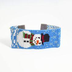 Snowman Bracelet - Beaded Bracelet - Christmas Bracelet - Seed Bead Bracelet - Womens Gifts - Holiday Bracelet - Under 40 - Gifts For Her Woven Bracelets, Seed Bead Bracelets, Seed Bead Jewelry, Beaded Jewelry, Christmas Gifts For Mom, Holiday Gifts, Gifts For Women, Gifts For Her, Bohemian Style Jewelry