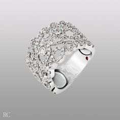 Mauresque ring in 18k white gold and diamonds.  By Roberto Coin.