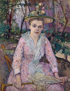 Woman with an Umbrella (Berthe the Deaf in the Garden of Monsieur Forest) Painting by Toulouse-Lautrec Henri de Henri De Toulouse Lautrec, Post Impressionism, Canvas Prints, Art Prints, French Artists, Beautiful Paintings, Monet, Great Artists, Les Oeuvres