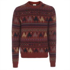 Paul Smith Men's Knitwear   Red Wool and Cashmere-Blend Camel Tapestry Sweater