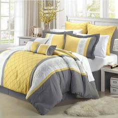 Yellow Grey Oversized Bedroom Bedding Luxury King Size 8 Piece Comforter Set