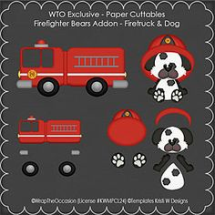 Fire Truck & Dog Paper Cuttables by WTO