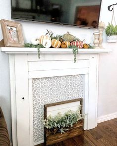 DIY faux fireplace mantel ideas on a budget using easy-to-use tile stencil patte. - DIY faux fireplace mantel ideas on a budget using easy-to-use tile stencil patterns from Cutting Ed - Faux Foyer, Faux Mantle, Faux Fireplace Mantels, Fireplace Design, Fireplace Ideas, Mantles, Fireplace Cover Up, Brick Fireplaces, Decorative Fireplace
