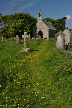 Charcross is a fictional place in the book, but it is a small chapel in a large graveyard. I imagine it to look something like this.