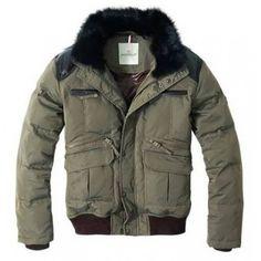Moncler Men Sheepskin Feather Short Down Jacket Grey