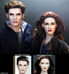 Twilight: Edward Cullen and Bella Swan - aka Robert Pattinson and Kristen Stewart - before and after Noel Cruz's repaint. This resembles alot