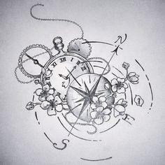 Kompass und Uhr  Bleistift auf Papier | 21 x 20 cm | 2015 | 30 EUR  #Art #painting #Tattoo #drawing #Sketch