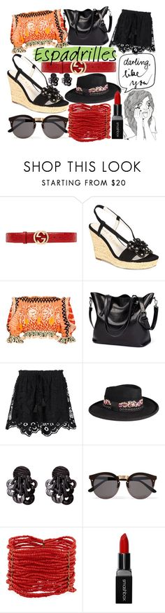 """""""Espadrilles"""" by couturerouge ❤ liked on Polyvore featuring Gucci, Anne Klein, Temperley London, Chloé, The Kooples, Illesteva, Berry and Smashbox"""