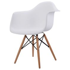 1 PC Mid Century Modern Molded Plastic Eames Style Dining Arm Chair Wood Legs
