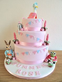 my attempt at a 3 tier cake Pretty Cakes, Beautiful Cakes, Amazing Cakes, Beatrix Potter Cake, Fondant, Peter Rabbit Cake, Girly Cakes, First Birthday Cakes, Birthday Ideas