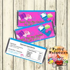 Printable Slumber Party Candy bar wrapper by PartyPaloozza on Etsy