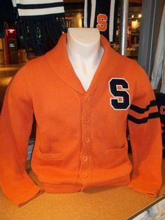 Classic Preppy Orange Vintage Style Syracuse Cardigan Sweater by The Vault