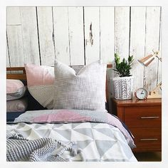 Here is a perfectly #styled bedroom by @little_love_nest featuring Kmart #copper lamp, grey throw and I'm loving seeing this side of the new Jasper cover set. Just wonderful @little_love_nest and I am wall crushing too :)