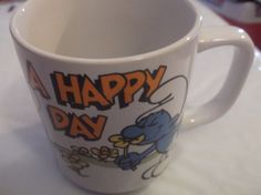 Smurf Mug Have A Happy Day Wallace Berrie Vtg Cup 1981 Vanity Traveler Handstand