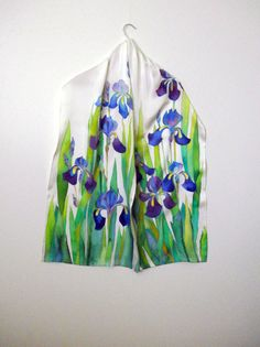"""Hand painted silk scarf Handpainted silk Silk shawl Blue irises long scarf womens scarves summer scarf for her 79 """" by 17"""""""