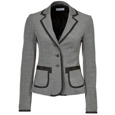 Strenesse Blue Blazer (€335) ❤ liked on Polyvore featuring outerwear, jackets, blazers, coats, tops, grey, women's suits, grey jacket, blazer jacket and gray blazer