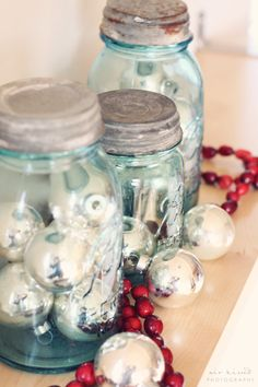large blue mason jars silver balls christmas balls winter christmas