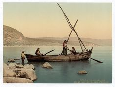 Photograph of Fishermen on boat on the lake. This color photochrome print was created between 1890 and 1900 in Israel.The photo illustrates Fishermans boat on the lake, Tiberias, Holy Land, i. First Color Photograph, Heiliges Land, Arte Judaica, Naher Osten, Miracles Of Jesus, Sea Of Galilee, Holy Land, Zurich, Geography