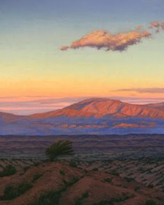 "New Mexico Landscape Painting, ""First Light, Lone Cloud"", Limited Edition Giclée Print, New Mexico, Terry Sauve, www.terrysauve.com"
