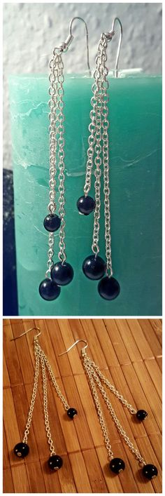 Elegante, lange Perlenohrringe für jeden Anlass selber machen | DIY basteln earring Ohrhänger Perlen Ohrringe mit Gliederkette herstellen | Bacabella Bastelanleitung + Foto-Inspiration + Einkaufszettel