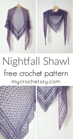 I have something new for you today, the Nightfall Shawl. My love for crochet shawls continues to grow and I have plenty of ideas and a lot of enthusiasm to put them in practice. This time the purpose of this . One Skein Crochet, Crochet Shawl Free, Crochet Shawls And Wraps, Basic Crochet Stitches, Easy Crochet, Free Lace Crochet Patterns, Crochet Lace Scarf, Poncho Patterns, Crochet Vests