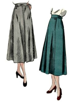 Vogue 6223    1940s retro sewing pattern for a high fashion flared skirt with inserted hip pockets. Flared skirt, inverted godet pleat at