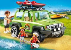 Drive off the beaten path with the Playmobil Off-Road SUV. Equipped with a trailer hitch, removable roof, and even a roof rack for your kayaks, this SUV has everything needed for an outdoor adventure. Set includes three figures, two kayaks, and other accessories. Recommended for ages four years and up. $47.99