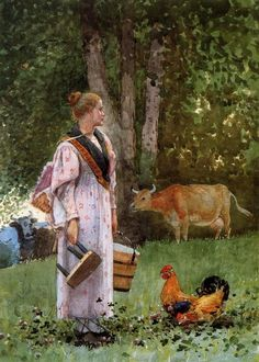 "Winslow Homer (1836-1910): The Milk Maid.      We had a milk cow for a while ""Daisy"", Wayne did the milking. I was taking care of four little ones...the oldest just turned five. =)"