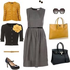 Gray dress. yellow cardigan or black with yellow pop!