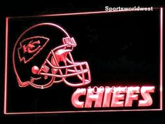 "Kansas City Chiefs Light - FREE  Delivery • Click on image for awesome view. • Solid state technology Simply plug it in and behold a beautiful lighted glowing sign for displaying in your window, Man Cave, Dorm, Bar, Home, Restaurant etc. • Logo and all four sides light as you can see in image – Awesome! • Solid state no batteries or bulbs needed. • Size: W 12""x H 9"" Available at: Sportsworldwest.com"