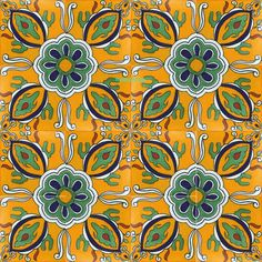 """Made To Order Talavera Tile """"Colima"""" It has yellow and green design painted over white background.  #mycustommade"""