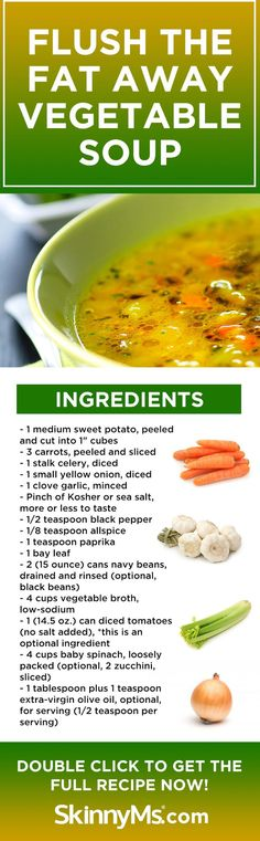 Clean Eating Diet Flush the Fat Away Vegetable Soup is a fantastic recipe packed with nutritional powerhouses to help jump start a clean eating plan! Clean Eating Plans, Clean Eating Diet, Healthy Eating, Soup Recipes, Vegetarian Recipes, Cooking Recipes, Healthy Recipes, Vegetable Soup Ingredients, Kids Nutrition