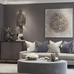 Various shades of grey in this sitting room of the master bedroom at the Wentworth project Spacious Living Room, Living Room Sofa, Interior Design Living Room, Living Room Designs, Living Room Furniture, Relaxation Room, Relaxing Room, Contemporary Interior Design, Interior Modern