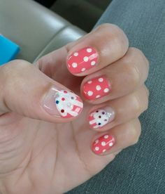 Pink cupcake nail art manicure with polka dots and glitter