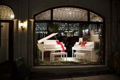 A duet of white pianos, specially refinished for Christmas by our shop! White Piano, Us Shop, Store Fronts, Windows, Christmas, Home, Pianos, Xmas, Ad Home