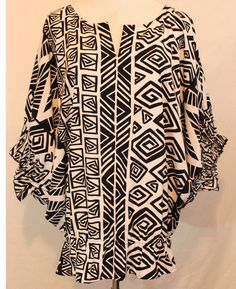 CHICO'S Abstract Print Dolman Batwing Sleeves Top Shirt Smocked Shirred 2 L  #Chicos #Blouse #Versatile