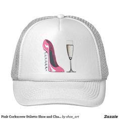 Pink Corkscrew Stiletto Shoe and Champagne Glass Cap