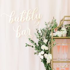 Our laser cut acrylic bubbly bar sign is the cutest way to add a bit of flair to your wedding bar. Table Number Stands, Gold Table Numbers, Bubbly Bar, Ethereal Wedding, Laser Cut Acrylic, Bar Signs, Style Me, Dream Wedding, Wedding Decorations
