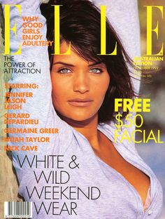 "Helena Christensen photographed by Giles Bensimon for the cover of ""ELLE"" magazine 1992......."