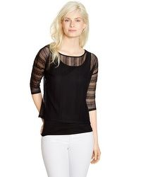 3/4 Sleeve Lace Overlay Top