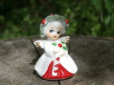 Spaghetti Trim Angel with Candy Cane Figurine - A sweet miniature Christmas decoration for your vintage Christmas collection.