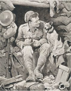 WWI Tommy and his Dog.  This super picture was done by the artist Stanley L Wood.  His illustrations of the Anglo-Boer War appeared in 'Black & White' and 'Black & White Budget'. He also worked for 'War Illustrated' during World War I.  We feature many of these titles within our Historic Library of Forces War Records, why not have a look and see what you can find..!