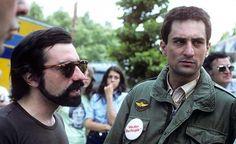 Martin Scorsese & Robert De Niro on the set of Taxi Driver (1976).
