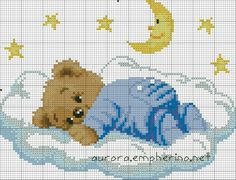 Cross Stitch Letter Patterns, Cross Stitch Letters, Cross Stitch Designs, Cross Stitch Embroidery, Stitch Patterns, Crochet Owls, Easy Crochet, Crochet Baby, Teddy Bear