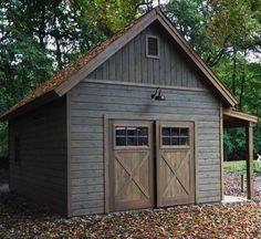 Shed Exterior Ideas, Garage Exterior, Barn Garage, Diy Garage, Shed Siding Ideas, Backyard Storage Sheds, Backyard Sheds, Outdoor Sheds, Prefab Garages